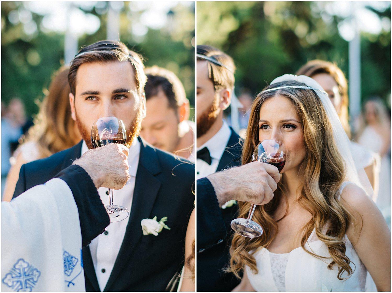 wedding couple drinking wine