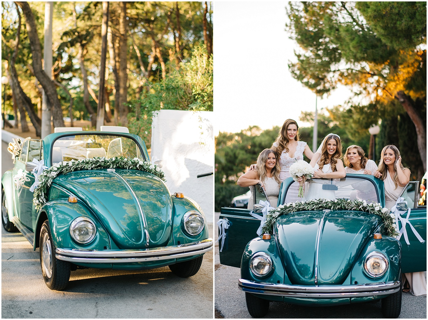 vw beetle with bridesmaids