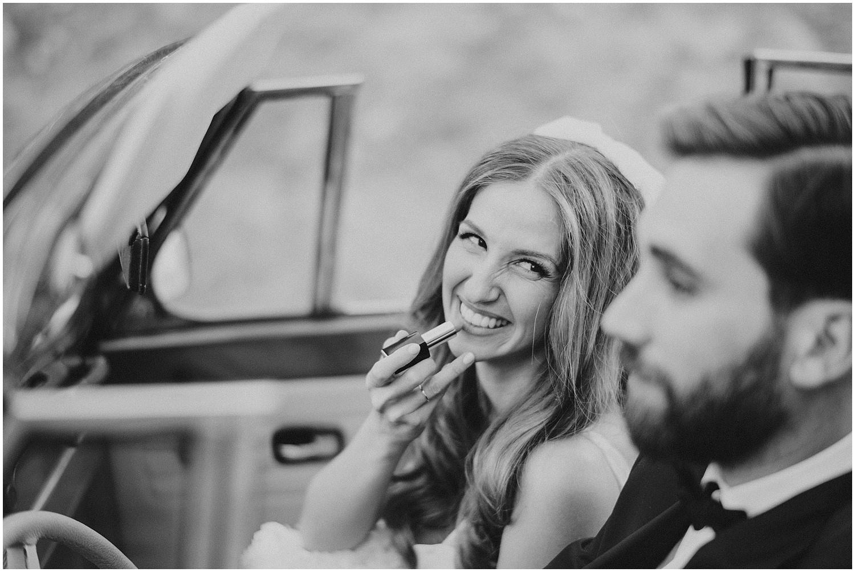 wedding with vintage car